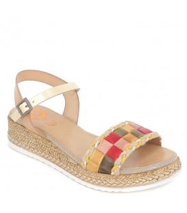 Sandalias con plataforma efecto yute y pala con adornos