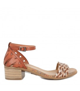 Sandalia piel y yute tacón bajo