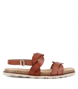 Sandalia plana cuero trenzado para mujer