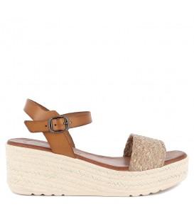 Sandalia plataforma de piel para mujer