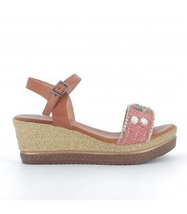Sandalia plataforma pala textil y pedrería
