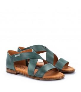 Sandalias planas de piel de mujer