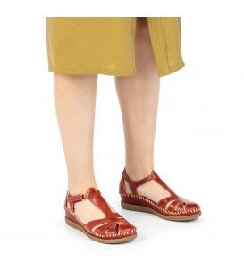Sandalia semicerrada cómoda cuña baja para mujer