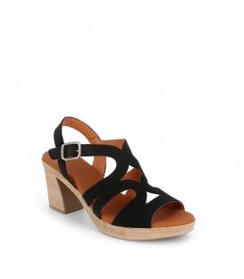 Sandalias de tacón para mujer en piel