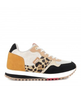 Sneakers cordones print leopardo mujer